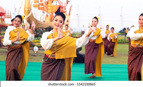 October 2019,Bangkok Thailand Thai culture and traditional dance show for king Rama 10 celebration Thailand traditional or cultural dance in Thai costume.