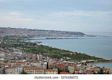 October 21 2013, City view panorama and Black Sea in Samsun, Turkey
