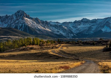 "OCTOBER 21, 2017 - RIDGWAY, COLORADO - ""Top of Pines"" Wilderness Area shows Road to Mount Sneffels"