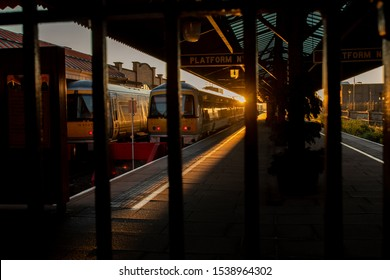 October 21, 2019 Marylebone Railway Station, London, UK, beautiful rustic vintage railway station in silhouette lifestyle people working or traveling to downtown using transportation and  bicycles