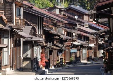 OCTOBER 22, 2018 Narai-juku, Japan-Old wooden house and narrow street of Narai Post town (Narai-Juku) the midpoint town with traditional wooden architecture in Nagano, japan.