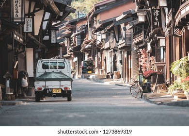 OCTOBER 22, 2018 Narai-juku, Japan-Old wooden house and narrow street of Narai Post town (Narai-Juku) the midpoint town with traditional wooden architecture in Nagano, japan.