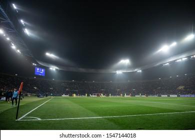 OCTOBER 22, 2019 - KHARKIV, UKRAINE: Metalist stadium panoramic view from the corner of the field. Fog and smoke on lights. UEFA Champions League. FC Shakhtar Donetsk-Dinamo Zagreb