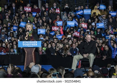 October 22nd 2016 - Philadelphia, USA - Secretary of State Hillary Clinton and Senator Tim Kaine hold campaign rally in Philadelphia.