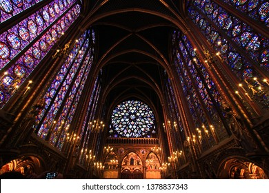 October 23, 2011. (Paris) - The beautiful stained glass window in the chapel with candlelight decoration at La Sainte Chapelle (The Holy Chapel) in Paris, France.