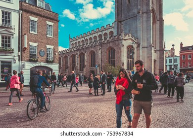 October 23, 2017, Cambridge, England : King's college in Cambridge, England. Founded in 1441 by King Henry VI, it has the world's largest stained glass windows.