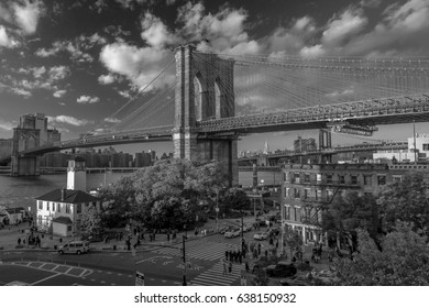 OCTOBER 24, 2016 - BROOKLYN, NEW YORK - Brooklyn Bridge and seen at magic hour, Sunset, NY NY