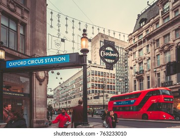 October 24, 2017, London, England : People, cars and double-decker bus passing by Regent Street