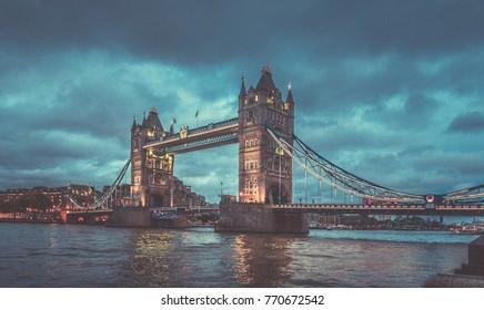 October 24, 2017, London, England : Tower bridge and the sky London skyline at night