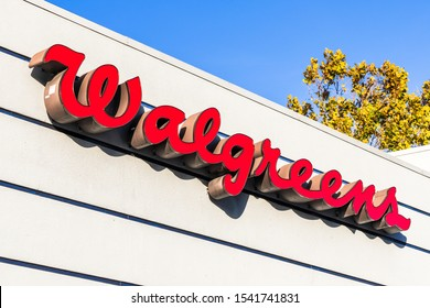 October 24, 2019 Sunnyvale / CA / USA - Walgreens pharmacy logo; Walgreens (part of  Walgreens Boots Alliance Inc. holding) operates the second-largest pharmacy store chain in the USA