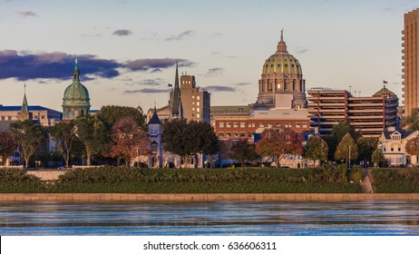 OCTOBER 25, 2016 - HARRISBURG, PENNSYLVANIA, City skyline and State Capitol shot at dusk from Susquehanna River, PA