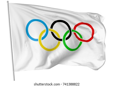 OCTOBER 25, 2017: 3D illustration of Olympic flag on flagpole flying and waving in the wind isolated on white.