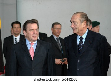 OCTOBER 26, 2004 - BERLIN: Chancellor Gerhard Schroder, French president Jacques Chirac at the German French Consultations in the Chanclery in Berlin.