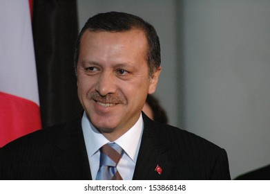 OCTOBER 26, 2004 - BERLIN: the Turkish Prime Minister Recep Tayyip Erdogan at a meeting with the German Chancellor in the Chanclery in Berlin.
