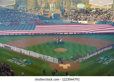 OCTOBER 26, 2018 - DODGER STADIUM, LOS ANGELES, CALIFORNIA, USA - giant US Flag is unfurled for World Series Game 3 opening ceremonies of Los Angeles Dodgers versus Boston Red Sox