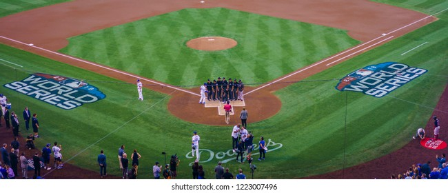 OCTOBER 26, 2018 - LOS ANGELES, CALIFORNIA, USA - DODGER STADIUM: LA Dodgers defeat Boston Red Sox 3-2 in game 3, the longest game in World Series History - 18 innings, 7 hours , 20 minutes.