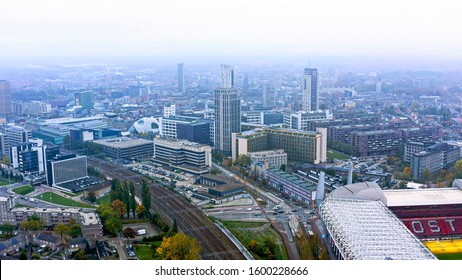 OCTOBER 26, 2019, Eindhoven, Netherlands : Aerial view of Eindhoven is a city in the south Netherlands. Flying over Dutch central cityscape and skyline also home of the PSV Philips Stadium in Holland