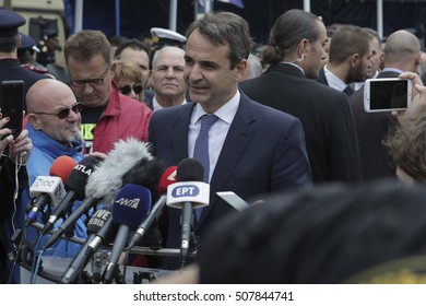 October 28, 2016 - Opposition leader Kyriakos Mitsotakis of the conservative Greek political party New Democracy at the memorial day parade in Thessaloniki, Greece against Italy & Germany during WWII