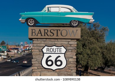 OCTOBER 28, 2017 - 1957 Chevy Welcomes travelers to Barstow California and old Route 66