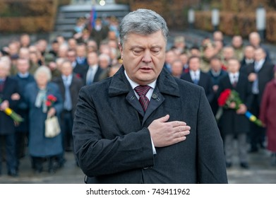 October 28, 2017. Kyiv, Ukraine. Day of liberation of Ukraine from fascist invaders. President of Ukraine Petro Poroshenko with veterans honored the memory of those who died in World War II