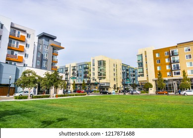 October 29, 2018 Sunnyvale / CA / USA - Urban landscape with newly developed residential buildings in downtown Sunnyvale, south San Francisco bay area, California;