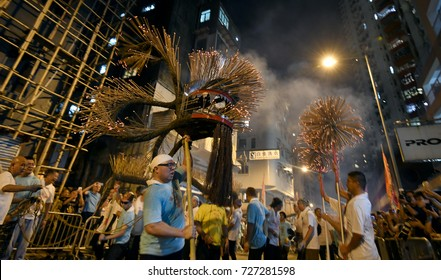 October 3, 2017, Hong Kong: Inscribed to China's national list of Intangible Cultural Heritage in 2011, the Tai Hang Fire Dragon Dance began in 1880 and is a highlight of Mid-Autumn Festival.