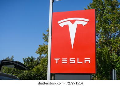 October 3, 2017 Sunnyvale/CA/USA - Tesla logo in front of a showroom located in San Francisco bay area