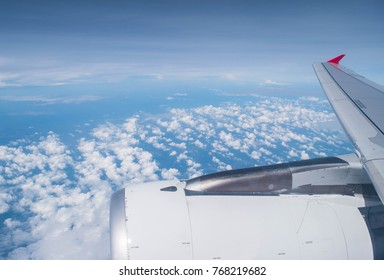 October 31, 2017 ; Airbus A320-216 of Airasia Universiti Putra Malaysia Livery Registered 9M-AQD, Scene view of blue sky with clouds during coming to Kuala Lumpur, Malaysia, Flight AK891 DMK - KUL
