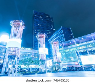 October 31 2017 : View of Microsoft Square (formerly Nokia Theatre) at L.A. Live/Microsoft Square (formerly Nokia Plaza) in downtown Los Angeles, near Staples Center.