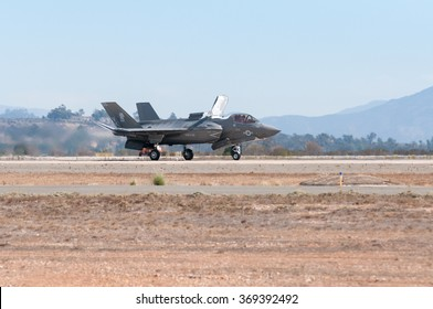 October 3.2014 Marine Corps Air Station Miramar San Diego CA US The new US Marine F35 on the runway during the annual air show in San Diego