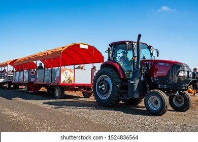October 5, 2019, Bauman's Farm, Gervais, Oregon/U.S.A.   A tractor hay ride at the annual Harvest Festival.