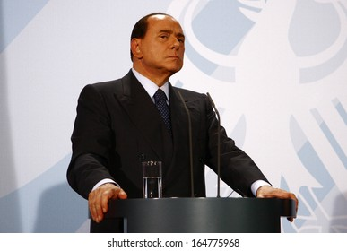 OCTOBER 6, 2008 - BERLIN: Italian Prime Minister Silvio Berlusconi at a press conference after a meeting with the German Chancellor in the Chanclery in Berlin.