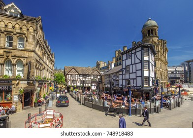 OCTOBER 6, 2015, MANCHESTER, ENGLAND: Shambles Square is a square in Manchester, England, created in 1999 around the rebuilt Old Wellington Inn and Sinclair's Oyster Bar next to The Mitre Hotel.
