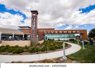 October 6, 2018 Livermore / CA / USA - People resting near the Terminal building of the Livermore Municipal Airport at the Open House event; east San  Francisco bay area