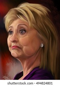 October 7, 2016: Caricature of the 2016 democratic presidential candidate HillaryClinton looking a bit skeptical. Editorial illustration.