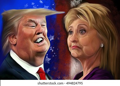 October 7, 2016: Caricature of the presidential candidates Donald Trump and Hillary Clinton on the occasion of the 2016 presidential debates. Editorial illustration.