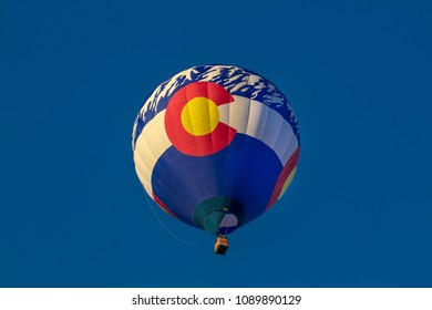 OCTOBER 7, 2017 - Albuquerque, New Mexico - Colorful Hot Air Balloons at the Albuquerque Balloon Fiesta, shows Colorado Flag