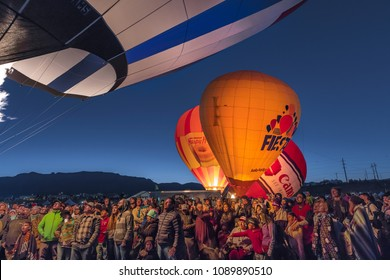 OCTOBER 7, 2017 - Albuquerque, New Mexico - Colorful Hot Air Balloons at Morning Glow Event at the Albuquerque Balloon Fiesta