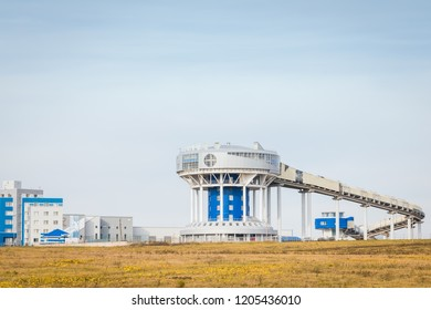 October 7, 2018: Paramonovo, Moscow region, Russia - The Paramonovo bobsleigh, luge, and skeleton track, view from the road