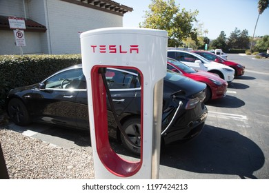 October 7 - Beulton, CA:  Model 3 and other Teslas charge at the SuperCharger staion in Beulton, CA on Oct 7, 2018. Tesla reported selling 56,000 Model 3s in Q3 2018.