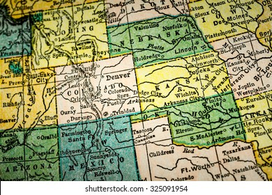 October 7th, 2015 - Montreal, Canada. Old 1940s Webster's Dictionary United States of America Map Close-up