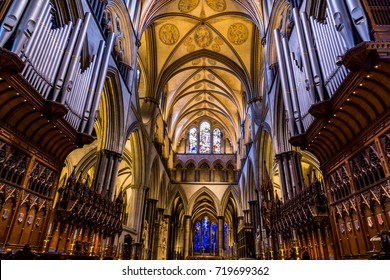October 8, 2014, Salisbury Cathedral, England.  The magnificent nave of the cathedral.