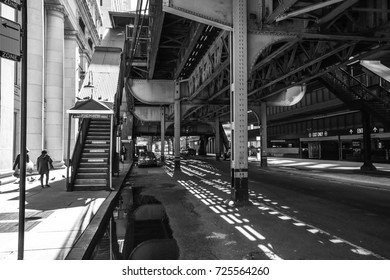 October 8, 2016 - CTA Railways columns in the streets of Chicago, Illinois