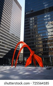 October 8, 2016 - Flamingo sculpture, created by noted American artist Alexander Calder in Chicago, Illinois