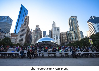 October 8, 2016 - People around the Cloud Gate in Grant Park and the Chicago skyline view