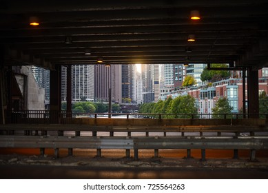 October 8, 2016 - Sunset view under a bridge in Chicago, Illinois