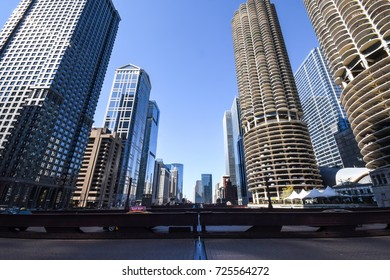 October 8, 2016 -  View of the Chicago skyline from a bridge