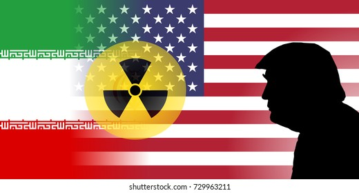 OCTOBER 8, 2017 - An illustration showing the flags of the United States and Iran with nuclear symbol and the silhouette of US President Donald Trump.
