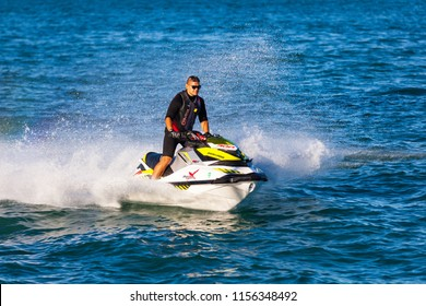 October 8 2017. Lake Michigan. Jet Ski Water Scooter Rider. Chicago, IL, USA.