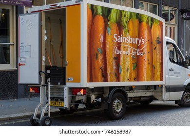October 8, 2017, London England. Sainsbury lorry making a delivery in the Bank district of London.